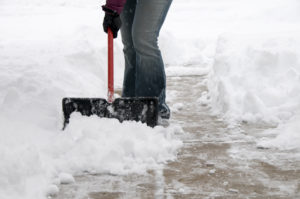Clearing snow from a walkway