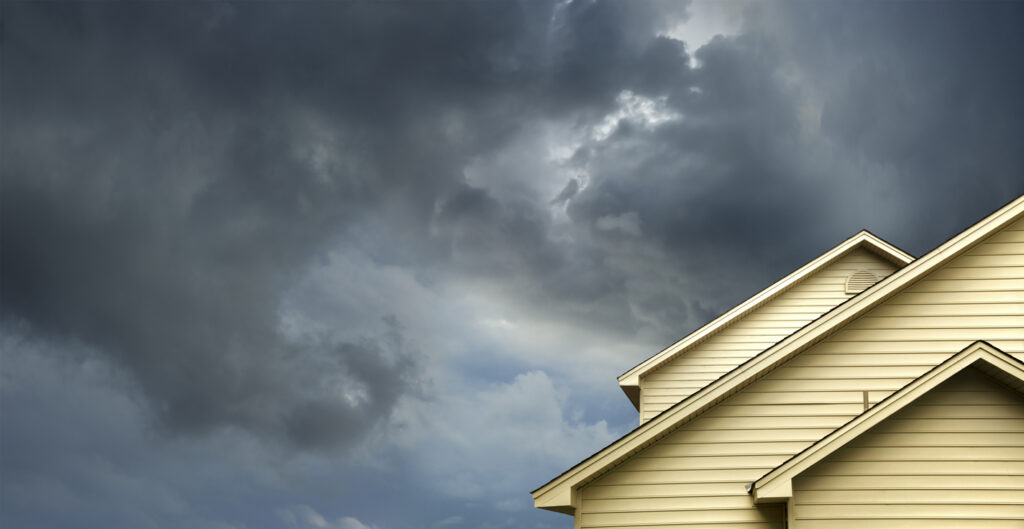 Storm clouds over a home