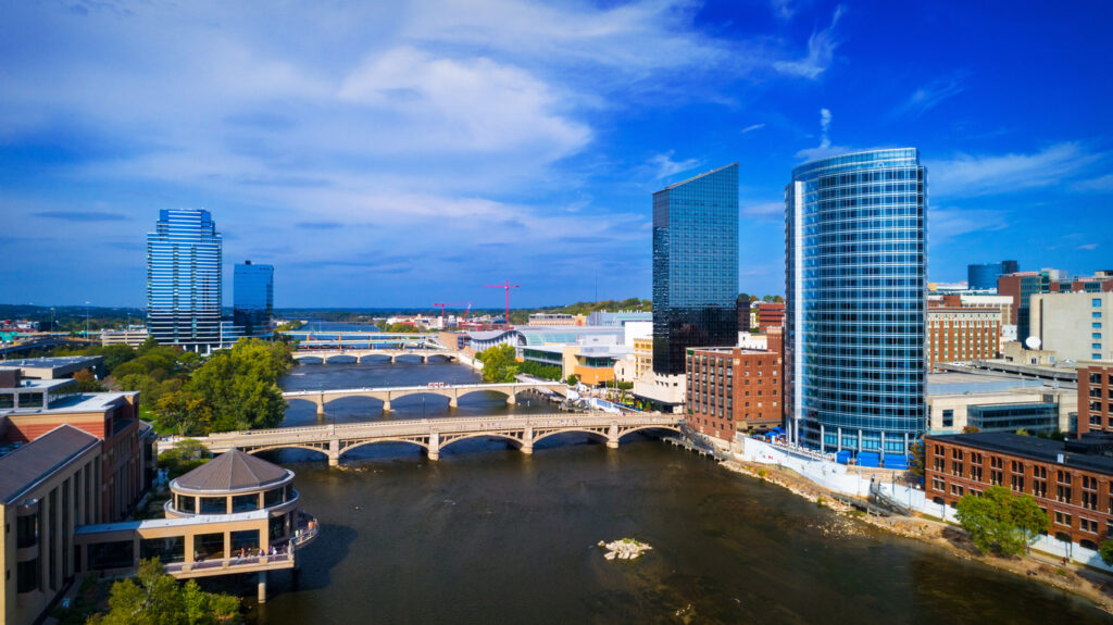 Grand Rapids Elevated View With River Down The Middle