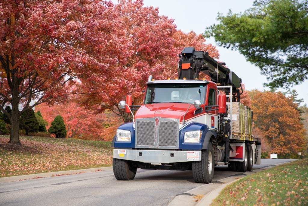 L&W Supply Delivery Truck Surrounded by Fall Trees
